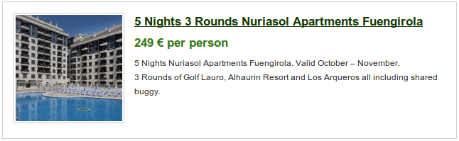 5 nights with golf at Lauro