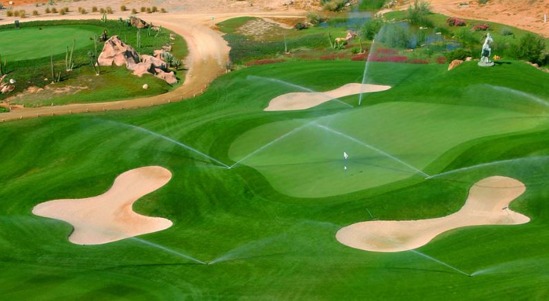 Green being watered at Desert Springs